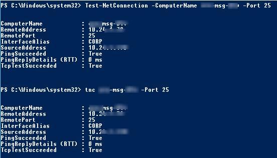 Test-NetConnection - прверка ответа от TCP порта