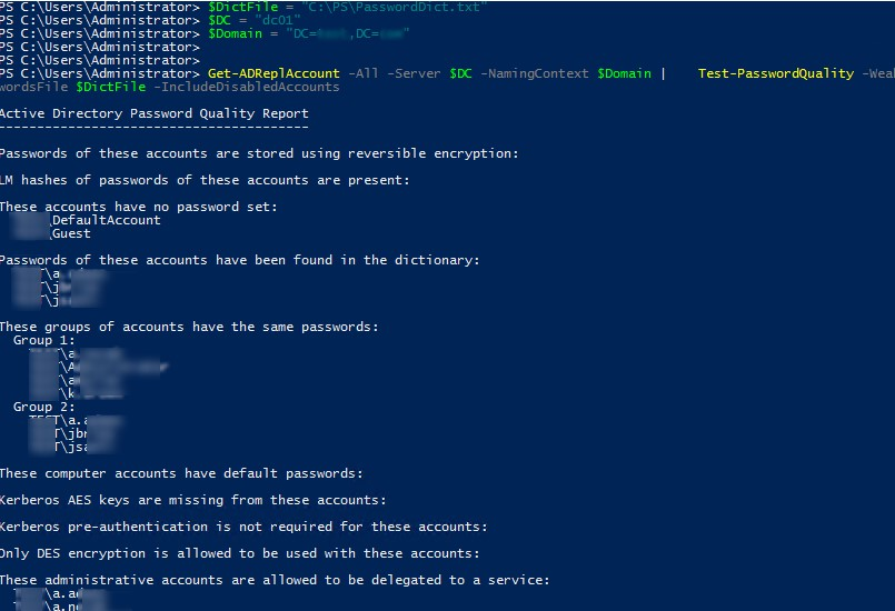Test-PasswordQuality поиск простых и повторяющихся паролей в Active Directory