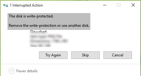 The disk is write protected.  Remove the write-protection or use another disk
