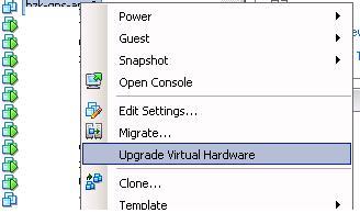 Upgrade Virtual Hardware