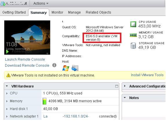 vmware esxi  - версия виртуального железа,  VM version