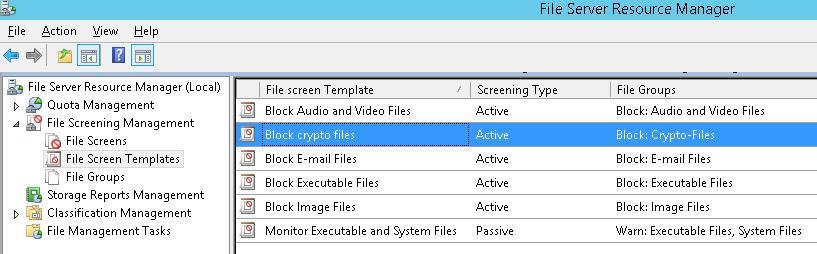 шаблон file screen : block crypto files