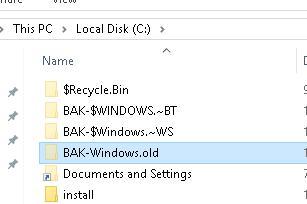 Переименовываем папку windows.old