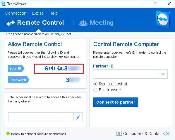 Find out the current TeamViewer ID