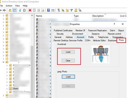 добавить кнопку загрузки фото пользователя в консоли ADUC