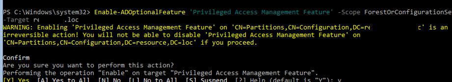 включить PAM в Active Directory: Enable-ADOptionalFeature 'Privileged Access Management Feature'