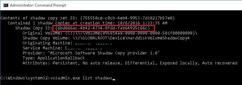 vssadmin.exe list shadows
