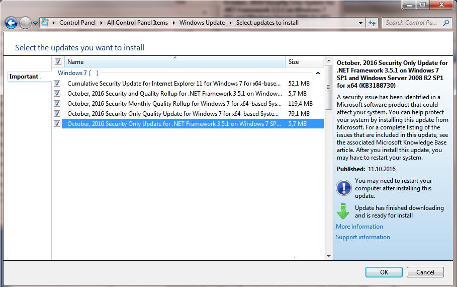 Windows 7  кумулятивное обновление октябрь 2016