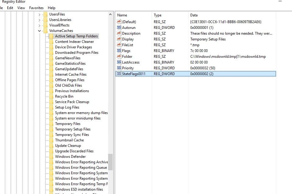 настройки cleanmgr в реестре ветка VolumeCache, параметр stateflags