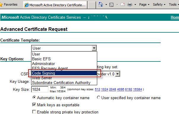 Шаблон сертификата code signing