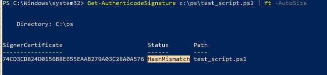 Get-AuthenticodeSignature ошибка HashMismatch