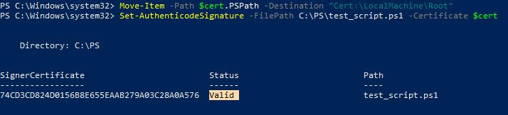 используем командлет Set-AuthenticodeSignature чтобы подписать файл с powershell скриптом
