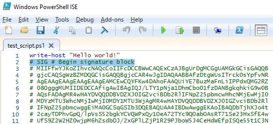 PS1 файл с блоком цифровой подписи # SIG # Begin signature block