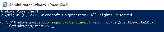Export-StartLayout PowerShell