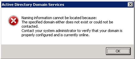 Naming information cannot be located because: The specified domain either does not exist or could not be contacted.