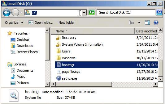 перенос файла bootmgr на диск C:\