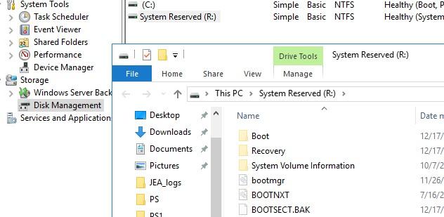 что нахожится на разделе system rezerved в windows?