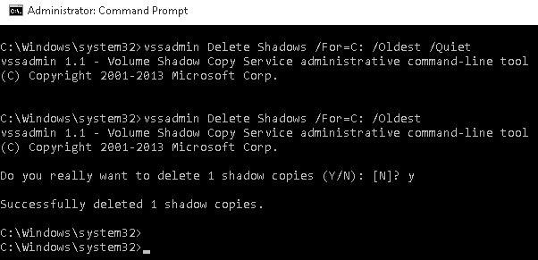 vssadmin Delete Shadows