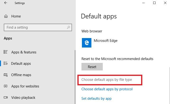 Настройка программ по умолчанию и типов файлов в windows 10