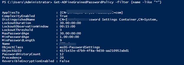 Get-ADFineGrainedPasswordPolicy вывести все политики паролей в домене