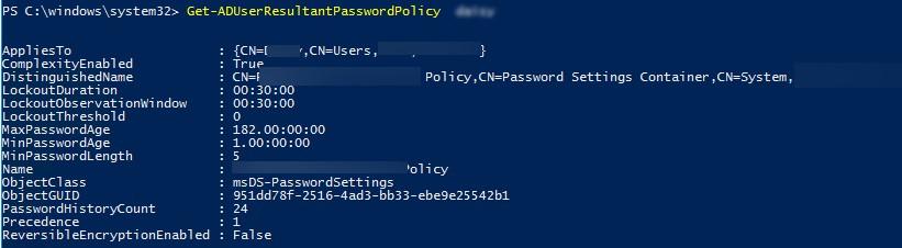 Get-ADUserResultantPasswordPolicy как узнать результирующую политику паролей, которая применилась к пользователю