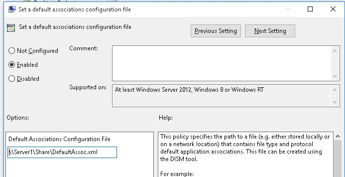 default Association configuration file