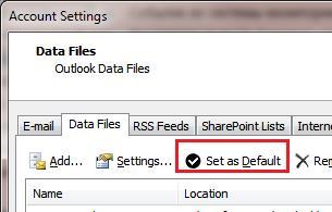 Выбрать pst файл по-умолчанию