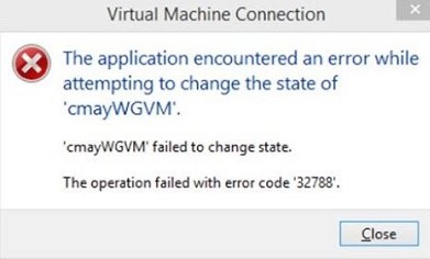 hyper v ошибка запуска ВМ failed to change state