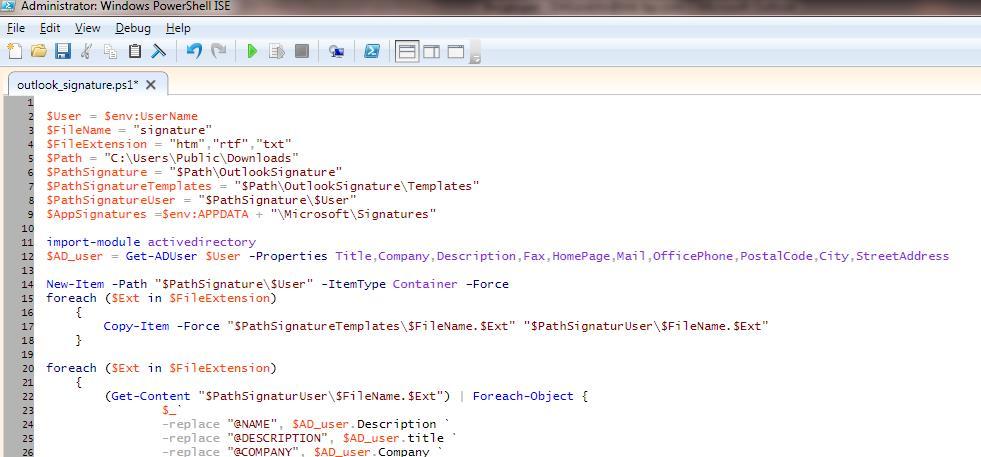 Скрипт для автоматического формирования подписи в Outlook с помощью powershell