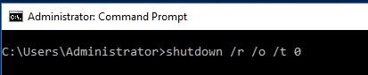 shuwtdow новый параметр команды -o для загрузки в winre