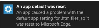windows 10 Стандартное приложение сброшено, сброс сопоставления между программой и файлом