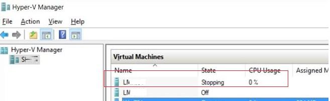 Виртуальная машина hyper зависла в статусе stopping