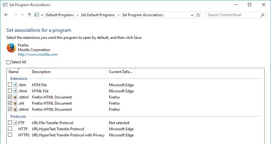 Выбрать ассоциированные файлы для программы