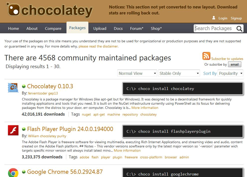 Репозиторий приложений Chocolatey