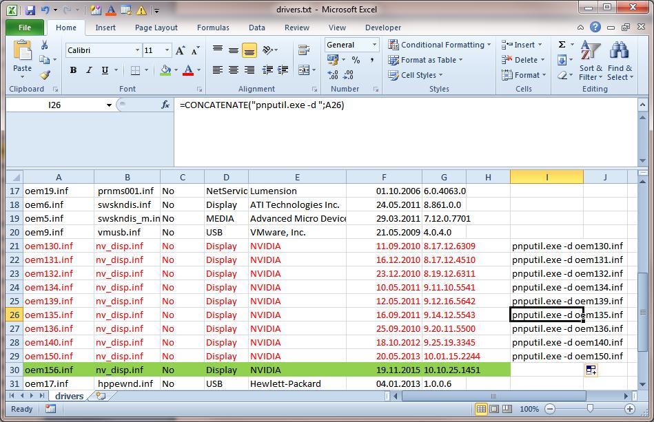 списки драйверов с версиями в Excel