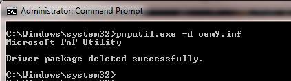pnputil.exe d oemxxx.inf - удаление драйвера