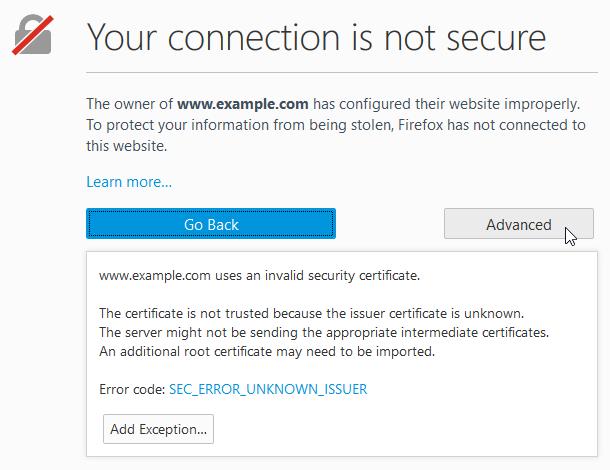 Ошибка Firefox - SEC_ERROR_UNKNOWN_ISSUER