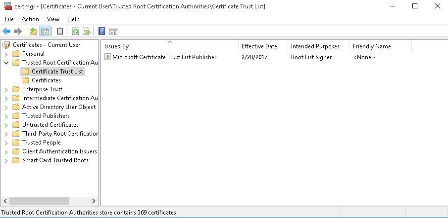 Certificate Trust List в Trusted Root Certification Authorities