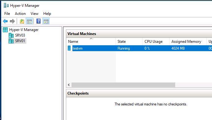 Консоль Hyper-V manager в Windows Server 2016
