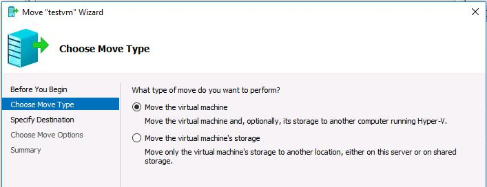 Move the virtual machine