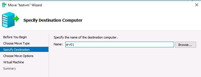 куда нужно смигрировать виртуальную машину