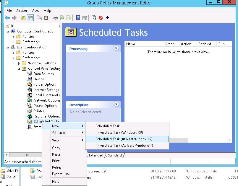 Задание планировщика через GPO Scheduled Task