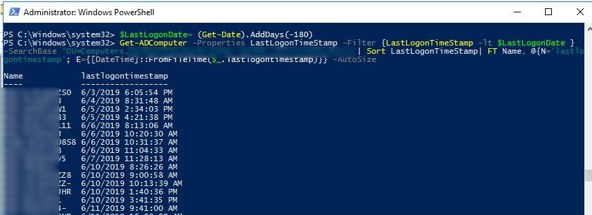 powershell команда поиска неактивных компьютеров в active directory