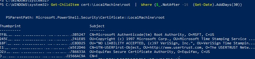 poweshell вывести список просроченных корневых сертфикатов в Windows