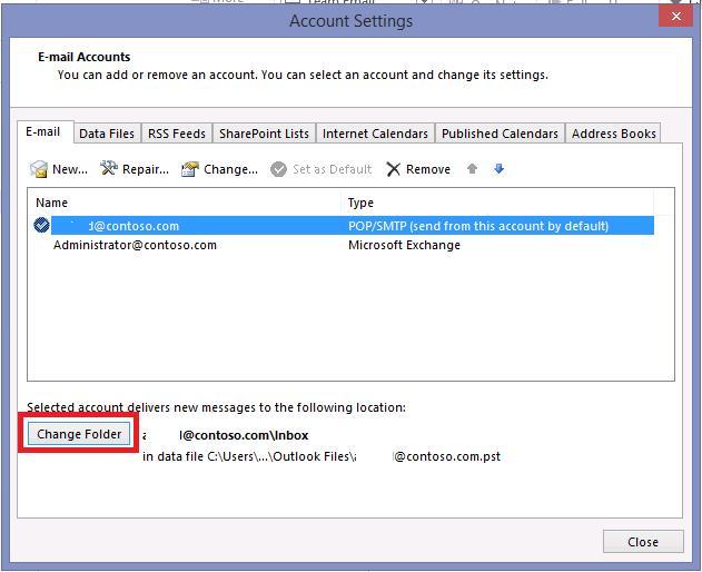 Сменить pst  файл в outlook 2013