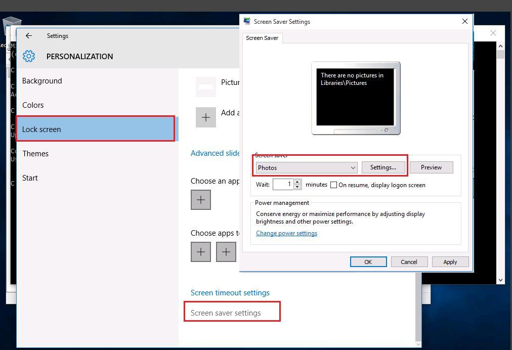windows 10 - настройки сринсейвера