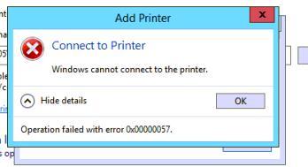 Ошибка поключения сетевого принтера 0x00000057 Windows cannot connect to the printer