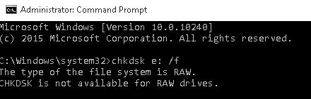The type of the file system is RAW. CHKDSK is not available for RAW drives.