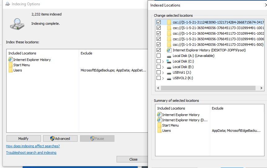 исключить элементы индексирования службы поиска windows