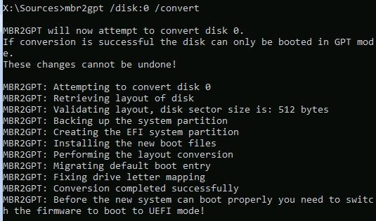 mbr2gpt конвертировать системный MBR в GPT диск из winpe